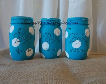 Three Hand Painted Mason Jars, Shabby Chic Wedding, Turquoise & White Polka Dots Mason Jars