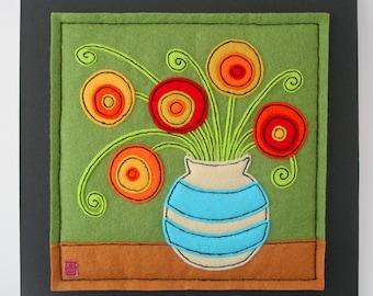Flowers In A Vase - felt applique picture