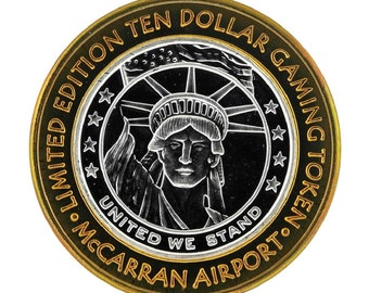 Authentic  SILVER 0.999 FINE Mc Carran International Airport Las Vegas Gaming Token Limited Edition !!
