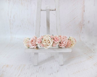 Wedding flower crown ivory blush floral headpiece hair accessories bridesmaids flower girl