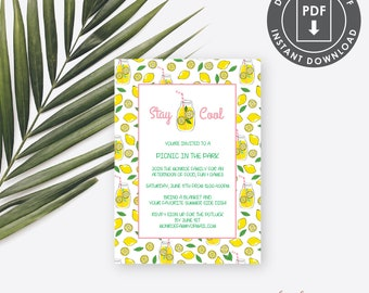 Summer BBQ Invitation, Summer birthday Party Invitation, printable Summer Party Invitation, Lemonade Invitation, picnic invitation, SS1