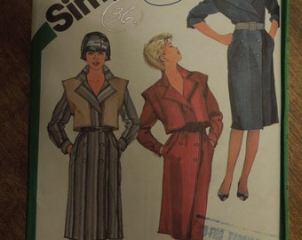 Simplicity 6592, size 8, dress, vest, UNCUT sewing pattern, craft supplies,
