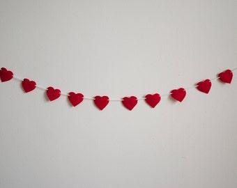 Heart Banner - Valentines Day Banner - Felt - Multiple Sizes