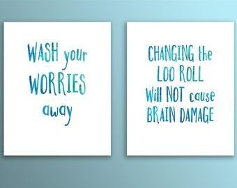 Watercolour Bathroom Print Duo, Multi Buy Prints, Bathroom Quotes, Typography Art, Digital Art, Printable Quotes, Instant Download