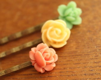 Antiqued Brass Hair Pins - Flowers - Lime Green, Yellow, Coral