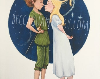 Kisses and Thimbles- Peter and Wendy hand embellished print
