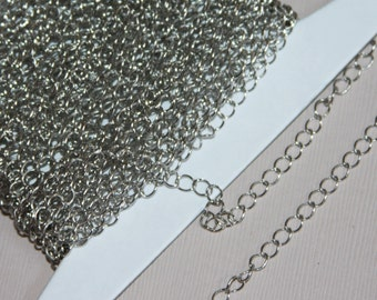 10 ft  Antiqued silver finished curb chain 3.8X4.5mm