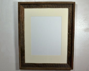 "Rustic wood frame 11""x14"" off white mat  fits 11x14,12x16,11x17 or 12x18."