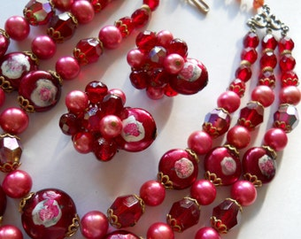 Triple Strand Necklace & Earring Set, Red Glass Bead, Faux Pearl, Painted Bead Vintage