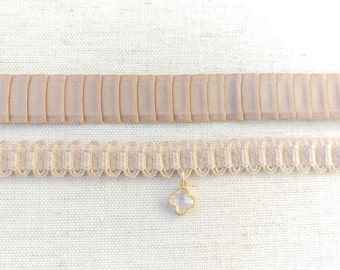 Charming Blush Rose Scallop Choker