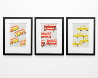 Set Of Three 3 City Prints, London Bus, Girlfriend Gift, Trams, New York Yellow Taxi Cab, Cars Art, Red Bus, Birthday Gift, Living Room