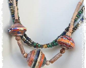 Multi Strand Tribal Necklace Seed Bead Jewelry Mother's Day Gift Boho Rustic Hippie Gypsy Ethnic Colorful Necklace