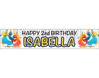 2 x Twirlywoo Personalised Birthday Banner, custom, party,