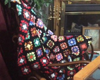 Twin sized granny square afghan handmade crochted vintage.