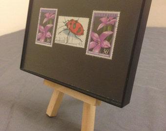 "Lady bug - Recycled Postage Stamp Framed Art 3.5""x5"", Ladybug, flower stamp, bugs, spots"