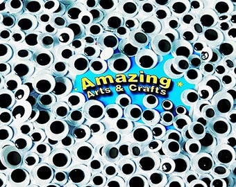 500 Wiggle Googly Wiggly Craft Google Eyes Black Assorted 10mm 12mm 15mm