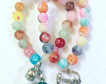 Ladies Multi-Colored Beaded Charm Style Bracelets, Multi-Colored Beaded Bracelets With Charms, Multi-Colored Stackable Jewelry With Charms,