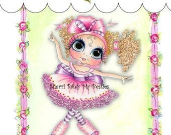 My-Besties Clear Rubber Stamp Big Eye Besties Big Head Dolls Tapping Tilly MYB-0021  By Sherri Baldy