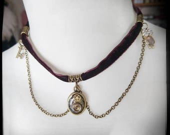 Steampunk necklace with clockwork, necklace, owl, chain, key
