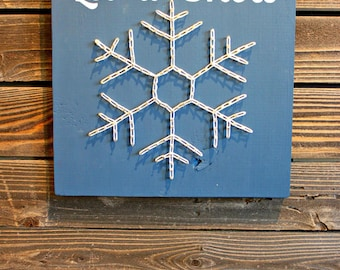 Let It Snow String Art, Let It Snow Sign, Winter Decor, Winter Sign, Snowflake Sign, Christmas Decor, Christmas Sign