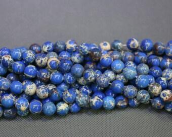 15.5inch Blue Imperial Jasper, 2strands Sea Jasper, Sediment Statement Stone Pendant Beads, Flat Slab Nugget Drilled Loose Beads