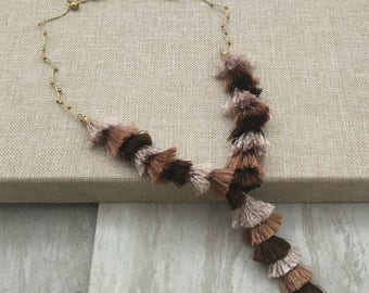Charleston Tassel Necklace, Brown Taupe Ombre Silk Tassel Statement Necklace, Long Tassel Necklace, Handmade Jewelry, Necklace for women