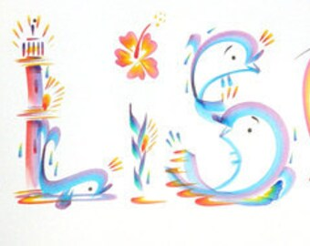 """Tropical Name Art Painting Hand Painted """"Allison"""" (Or Substitute Any 7 Letter Name)"""