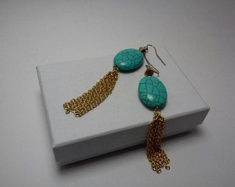 SALE Earrings in Turquoise and Gold Chains: Stones & Chains