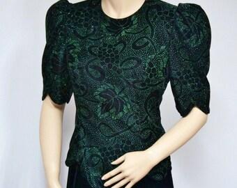 1980's Dress Velvet Dress Vintage Dress Scott McClintock Velvet Glitter Dress Black and Green Size 10