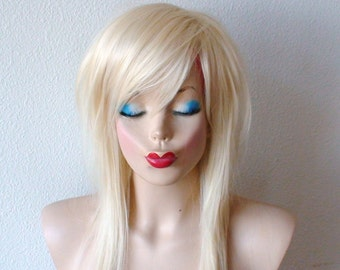 Scene wig. Blonde wig. Layered straight hair wig. Durable heat friendly wig for everyday wear or Cosplay.