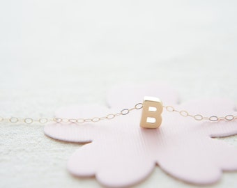 "Gold Letter, Alphabet, Initial capital ""B"" necklace, birthday gift, lucky charm, layered necklace"