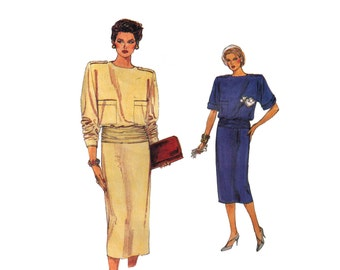 Vogue 9180, 80s sewing pattern, size 8-12 women's dress and belt pattern, loose fitting dress long sleeves