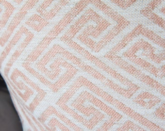 Ready to Ship 20x20 Blush Pink Pillow Cover - Modern Geometric Pink Ivory Pillow Cover - Designer Pillow - Ivory Pink Greek Key - Pale Pink