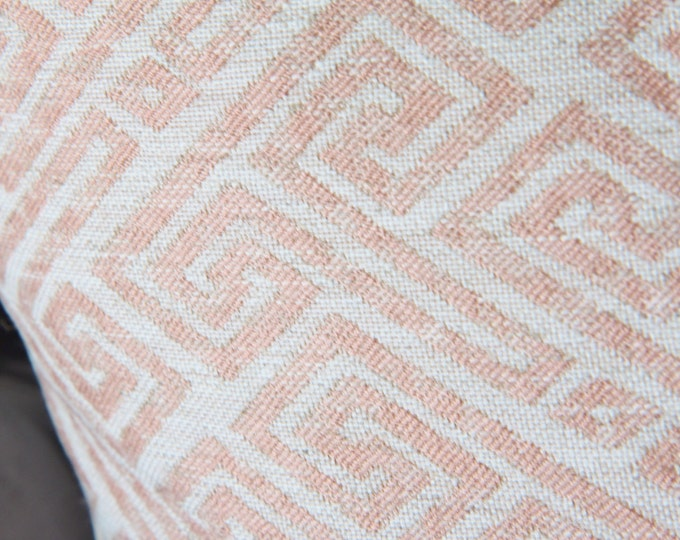 Blush Pink Pillow Cover - Modern Geometric Pink Ivory Pillow Cover - Designer Pillow - Ivory Pink Greek Key - Pale Pink