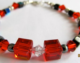 Red and Black Crystal Bracelet with Sterling Silver