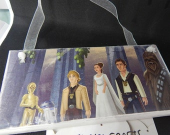 """Princess Leia Luke Skywalker Han Solo Chewbacca - Star Wars - 6"""" x 3"""" Rectangle Wooden Hanging Plaque - Upcycle Hanging Sign Decoration"""