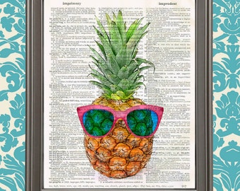 Pineapple with a Pink Sunglasses, Pineapple Fruit art home decor, kitchen decor, gift for her, tropical decor, weird stuff, funny art print