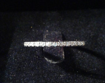 Natural White Zircon Sterling Silver Wedding Band