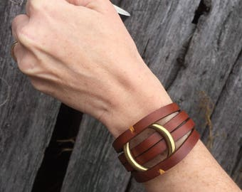 Leather Wrap Bracelet Joanna Gaines Inspired Brass O Ring Brown * Tan * jewelry