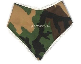 CAMOUFLAGE BANDANA BIB, baby shower gift, personalized gift, camo bibs, embroidered, dribble bib, military bib, baby boy, baby bibs, gift,