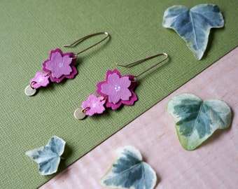 Pink Sakura Cherry Blossom Flower Earrings Floral Creative Leather Delicate Feminine 14K Gold Fill Bridesmaid Spring Wedding Mothers Day