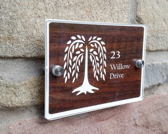 Personalised English Dark Walnut Exterior Interior House Sign