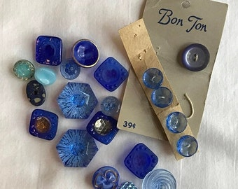 CLEARANCE SALE 22 Shades of Blue-Vintage Collection of Blue Glass Buttons