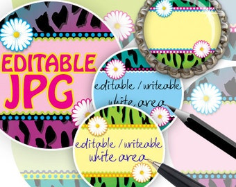 """INSTANT DOWNLOAD - 1"""" Editable Circles 08 Extreme Animal Skin hot pink Printable for Bottle cap  Resins Stickers Download and Print Your Own"""