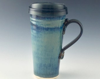 IN_STOCK Ships Same or Next Day Ceramic Travel mug / Commuter mug with silicone lid - Blue / Brown