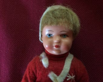Vintage Celluloid Boy Doll, Made in Germany - 1950