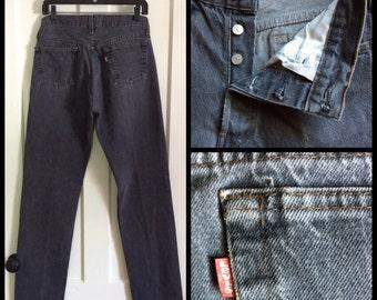 Vintage Faded Black denim 501 Levi's Jeans 31x34 Distressed Grunge Tall Boyfriend