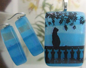 Summer Reverie Dichroic Glass Dangles, Fused Glass Jewelry Handmade in NC