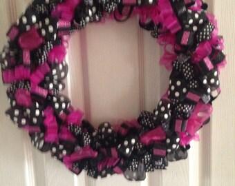 Raspberry and black ribbon wreath