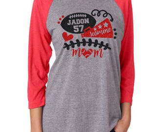 Glitter  Mom Cheer and Football 3/4 Sleeve Raglan |Baseball Shirt|Customize with your Team & Colors